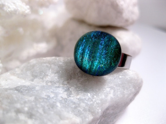 Shimmer Blue Green Glass Ring - Changes Color - Thick Silver Band Adjustable
