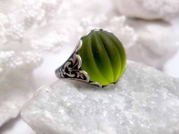 Green Ring - Lime Green - Melon Ring - Cabochon Ring - Gothic - Peridot - Glow - Bright Green - Silver And Green - Apple Green
