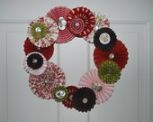 Romantic Paper Rosette and Vintage Button Wreath