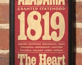 The State of Alabama Color Customizable Vintage Style Wall Plaque / Sign Decorative & Custom Color