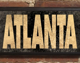 Atlanta GA Wall Art Sign Plaque Gift Present Personalized Color Custom Date Vintage Style Peachtree ATL Georgia Braves Home Decor Falcons