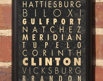 Cities of Mississippi Vintage Style Wall Plaque / Sign