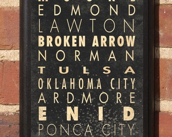Oklahoma OK Cities Wall Art Sign Plaque Gift Present Home Decor Vintage Style Norman Enid Tulsa Lawton Moore Enid Stillwater Tulsa Classic