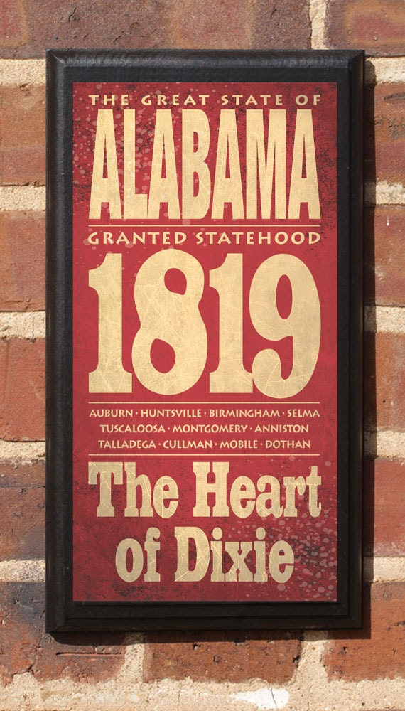 Alabama Al Wall Art Sign Plaque Gift Present Personalized