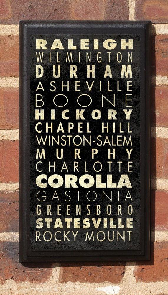 North Carolina NC Cities List Wall Art Sign Plaque Gift Present Vintage Style charlotte, asheville, raleigh Greensboro Winston Classic