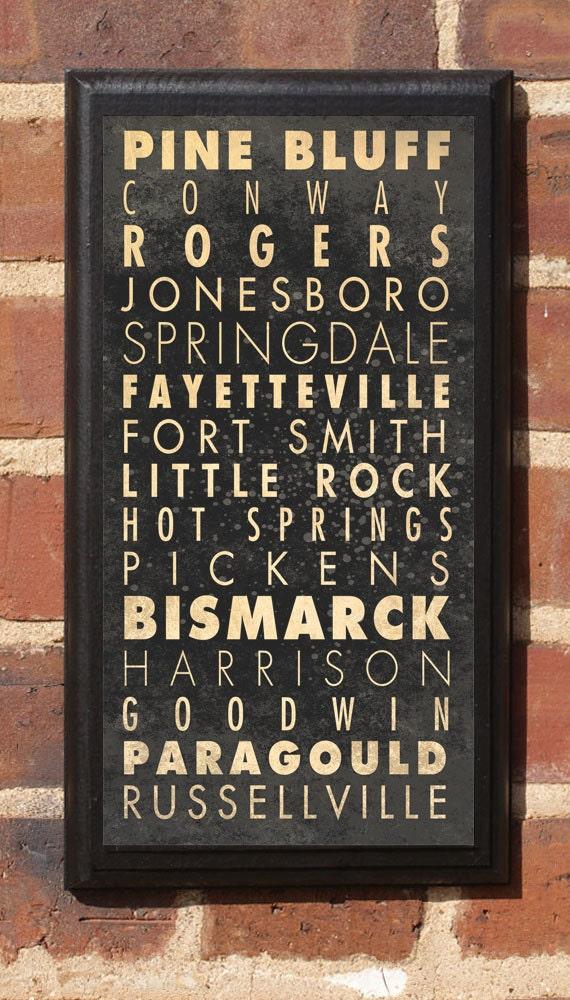 Arkansas AR Cities Wall Art Sign Plaque Gift Present Home