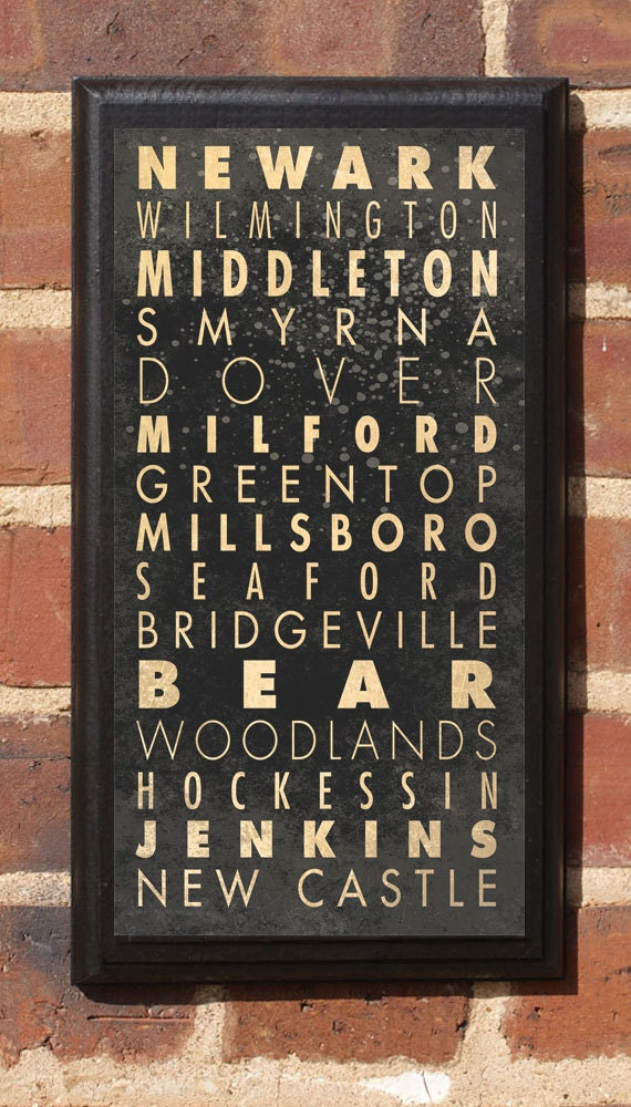Delaware Cities Transit Subway Scroll Vintage Style Wall Plaque Sign Home Decor Wall Art Gift Present