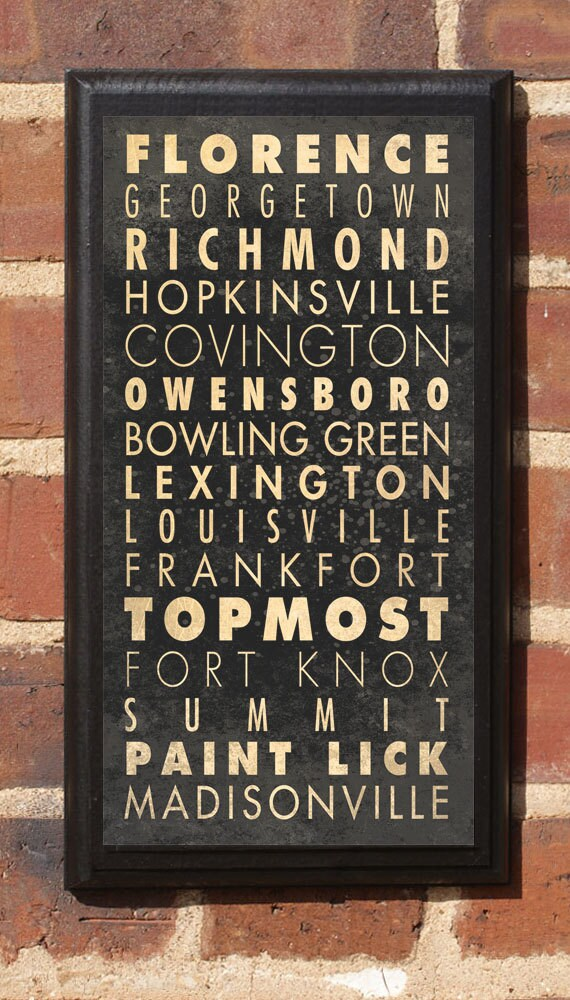 Cities of Kentucky Subway Scroll Vintage Style Wall Plaque / Sign