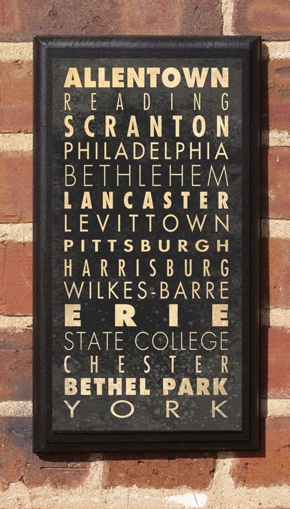 Cities of Pennsylvania Subway Scroll Vintage Style Wall Plaque / Sign