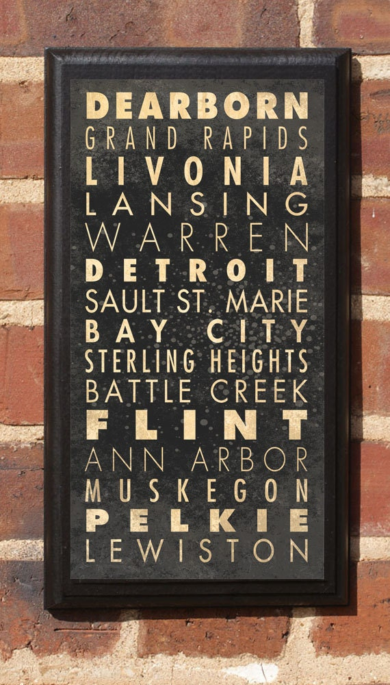 Cities of Michigan Subway Scroll Vintage Style Wall Plaque Sign Wall Home Decor Art Gift