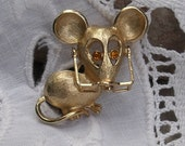 Vintage Avon Mouse Pin with Moveable Glasses and Topaz Rhinestone Eyes - 1973