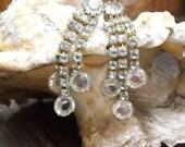 RESERVED For Stephanie - 1950's Rhinestone Earrings