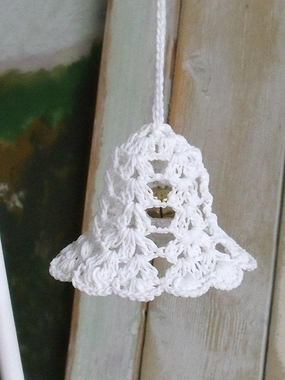 Vintage white crocheted christmas bells jingle a