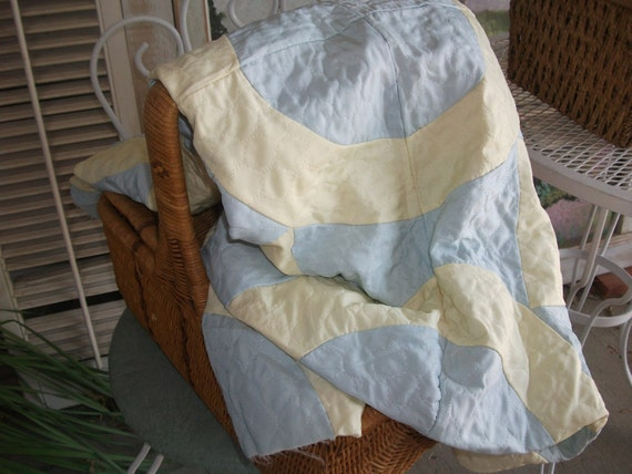 RESERVED for Debbi -Vintage 1950's Quilt Top Unfinished Robin Eggshell Blue and Ivory - AS IS