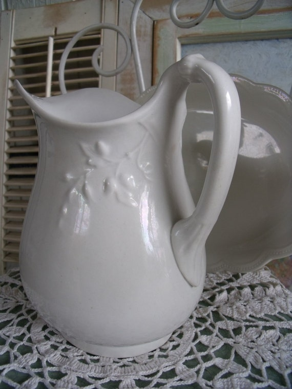 Antique Johnson Bros. England Serving Platter and Unmarked Pitcher - Early 1900's