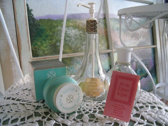 RESERVED for Melody - Collection of Avon Glass Beauty Bottle Pump Dispenser and Turquoise Blue Jar - Vanity