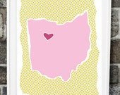 Customized State or Country Print - Ohio  Style - Sizes 5x7, 8x10 or 11x14