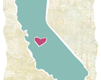 """Vintage Map Style Customized State or Country Print - California Style - Sizes 5""""x7"""" up to 42""""x70"""""""