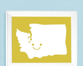 """Happy State or Country Map -  Sizes 5""""x7"""" up to 42""""x70"""""""
