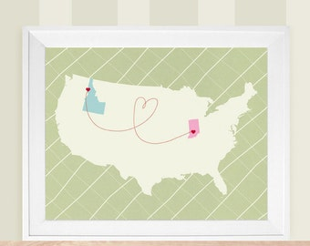 """Custom USA or World Map, Guest Book Alternative Map, Love Map, Wedding Map Gift, Sizes 5""""x7"""" up to 44""""x70"""""""