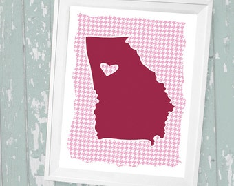 """Customized State or Country Print - Georgia  Style - Sizes 5""""x7"""" up to 42""""x70"""""""