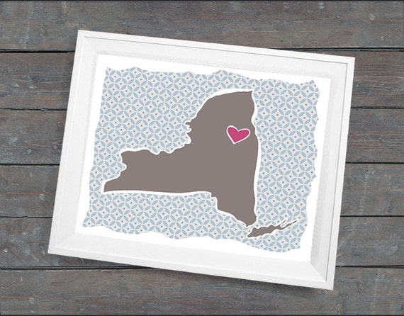 """Valentines Day Gift, Personalized Gift, Customized State or Country Print - New York Style - Sizes 5""""x7"""" up to 42""""x70"""""""