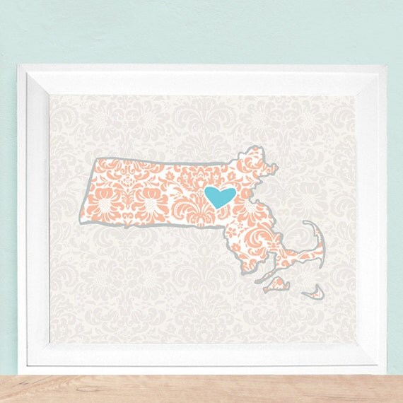 """Customized State or Country Print - Massachusetts Style - Sizes 5""""x7"""" up to 42""""x70"""""""