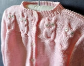 Precious vintage hand knit baby girl sweater, pink with cabled owls
