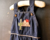 Denim Healthtex toddler overalls, with desert sunset and cactus, size 18 months