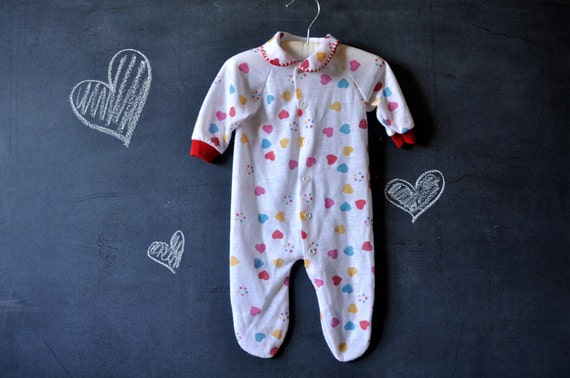 SALE white vintage baby girl snap-up sleeper with colorful hearts
