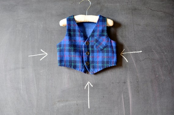 vintage plaid wool baby vest, blue, black and green with pocket