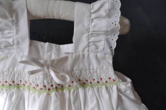 cute smocked pinafore apron top/dress, size 9 months baby girl