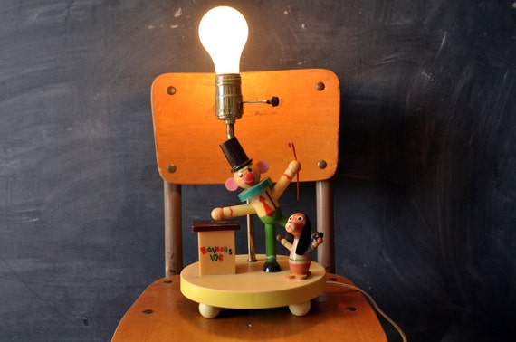 vintage nursery lamp, clown and puppy dog, balloon box, retro kids room decor light