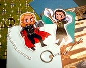 Thor and Loki chibis as keychains/magnets