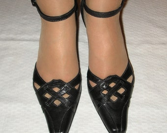 Vintage 90s black leather pumps, size 36 (EUR), 6 (US), on sale