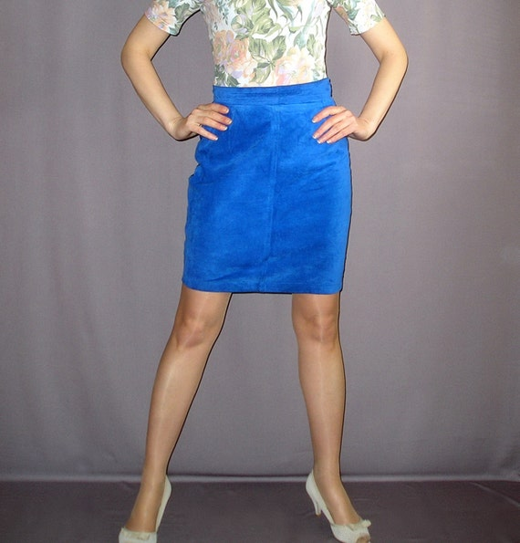 Vintage 80s Cobalt Blue Suede Leather Pencil Skirt Size M