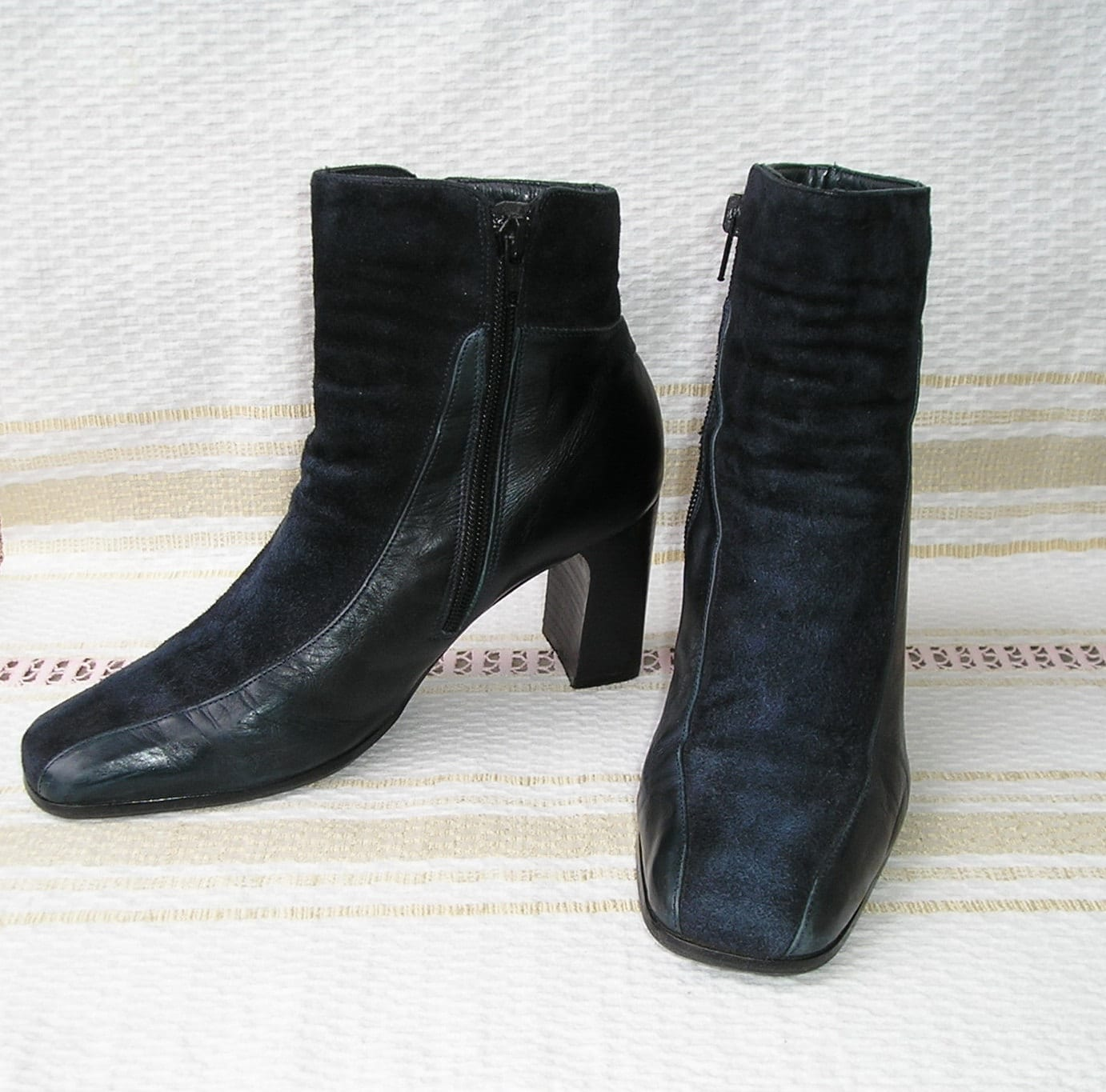 vintage navy blue leather ankle boots size 37 5 by
