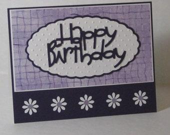 Purple Birthday Card with Daisies