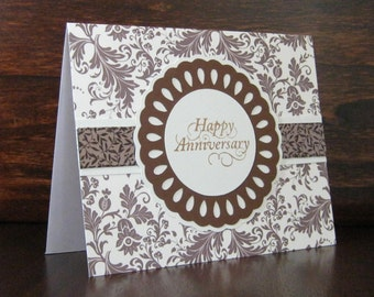 Brown & Ivory Floral Anniversary Card