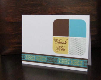 Turquoise, Brown & Yellow Thank You Card