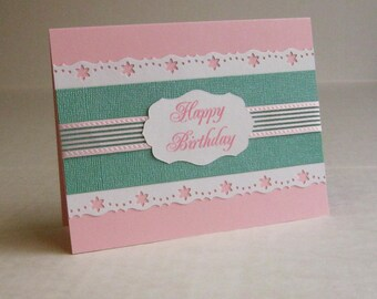 Birthday Card, Pink and Emerald