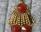Pendant Necklace Art Nouveau/Art Deco Style Carnelian/Blood Orange Colour
