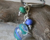 Blue and green swirl lampwork bead keychain