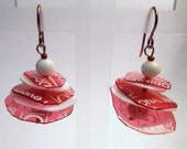 Trashion up-cycled Pretty Plastix ear rings from Tangora Designs in red and white