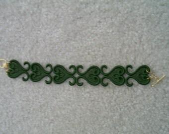 Dark Dark Avocado Green Paisley Lace Bracelet/Anklet