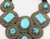 Turquoise Beaded Bib Statement Necklace