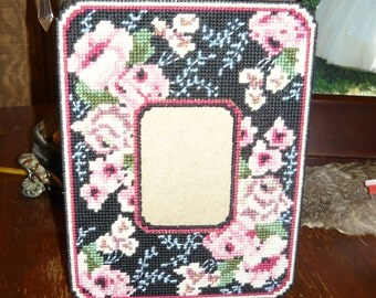 Flowers on Black Plastic Canvas Picture Frame Ready to Ship