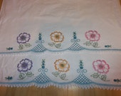 Vintage Pure Linen Pillow Cases...Floral Hand Embroidery and Crochet Lace..Excellent Condition