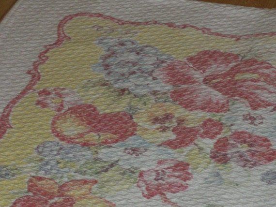 """Sweet Barkcloth Tablecloth..Good Condition...Vintage...29"""" by 34"""""""