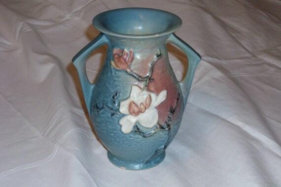 Vintage Roseville Art Pottery Vase Blue Magnolia 90